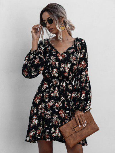 Floral Lantern Sleeve Mini Dress - Black M