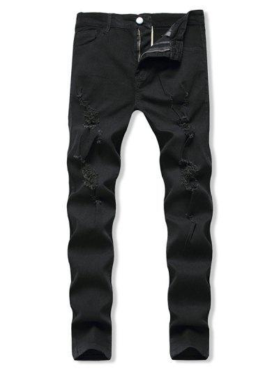 Distressed Destroy Wash Zip Fly Jeans - Black L