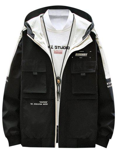Contrast Patch Letter Print Flap Pocket Hooded Jacket - Black Xl
