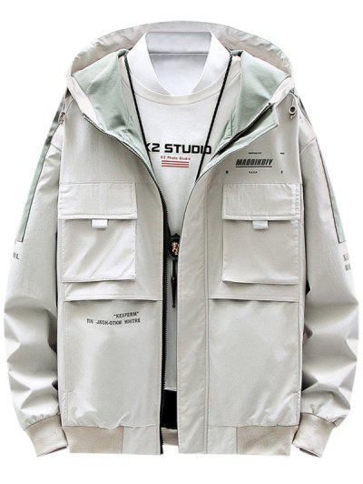 Contrast Patch Letter Print Flap Pocket Hooded Jacket - Beige M
