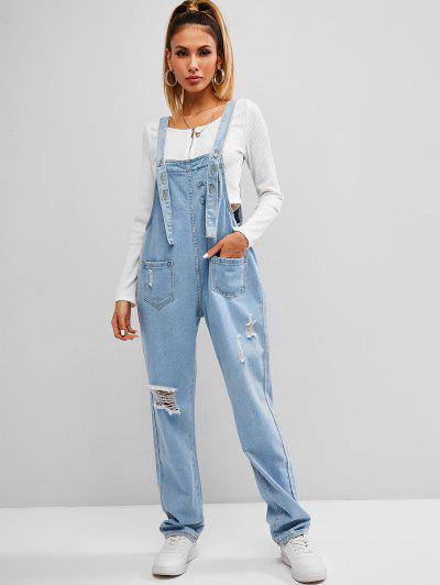 Ripped Front Pockets Dungaree - Blue S