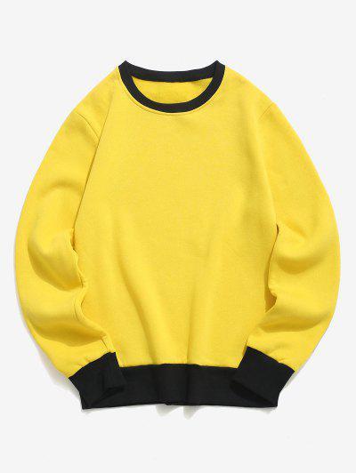 Contrast Rib-knit Trim Fleece Sweatshirt - Yellow L
