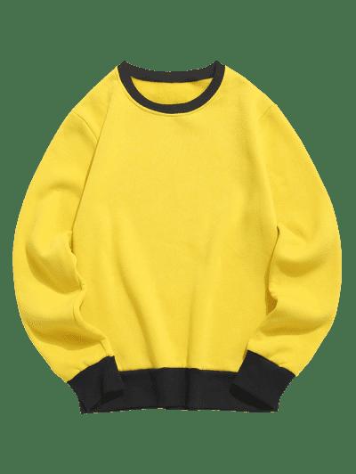 Contrast Rib-knit Trim Fleece Sweatshirt