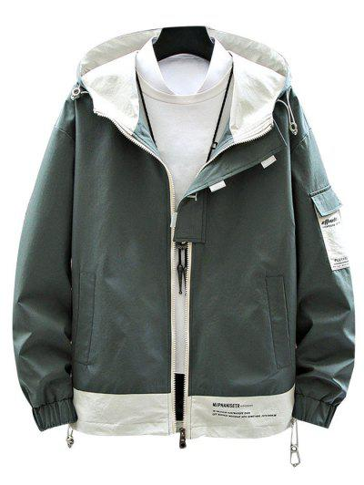Colorblock Panel Letter Print Hooded Jacket - Deep Green S