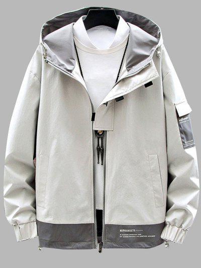 Colorblock Panel Letter Print Hooded Jacket - Beige L