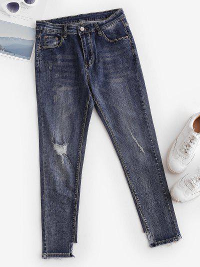 Ripped Mid Rise Ninth Skinny Jeans - Midnight Blue L