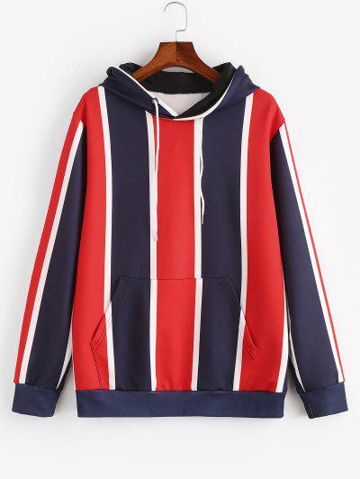 Colorblock Stripes Kangaroo Pocket Hoodie - Ruby Red Xl