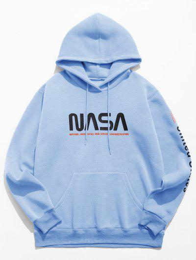 Letter Graphic American Flag Print Kangaroo Pocket Hoodie - Light Blue L