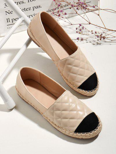 Contrast Toe Quilted Espadrilles Loafer Flats - Apricot Eu 40