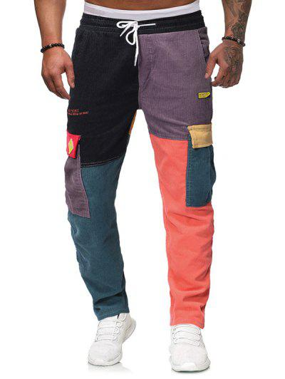 Colorblock Flap Pockets Letter Embroidery Corduroy Pants - Multi-a L