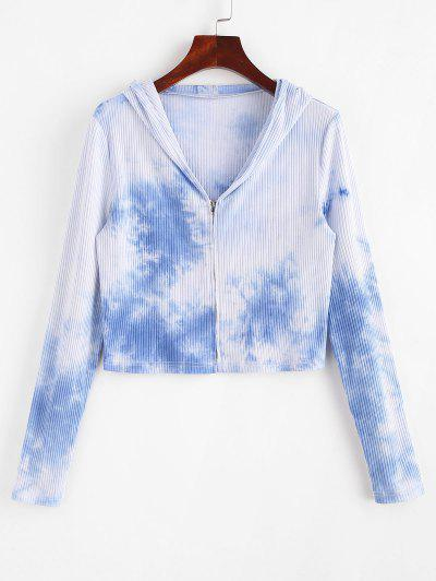 ZAFUL Ribbed Tie Dye Hooded Crop Cardigan - Light Sky Blue M