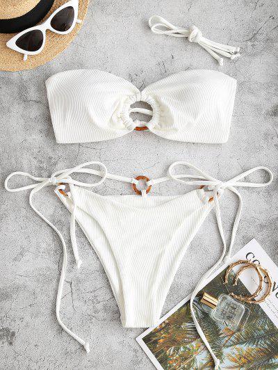 ZAFUL Ribbed O Ring Lace Up Tie Side Bikini Swimwear - White S