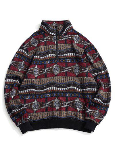 Tribal Pattern Fleece Knit Sweatshirt - Multi L
