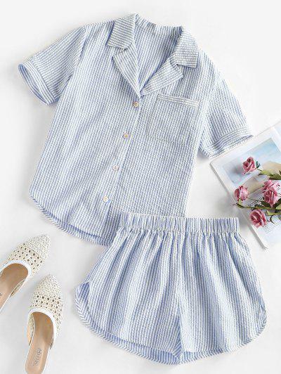 ZAFUL Seersucker Striped Pocket Pajama Shorts Set - Light Blue S