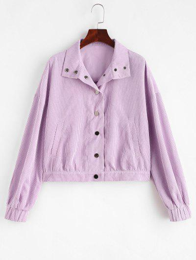 ZAFUL Pocket Corduroy Drop Shoulder Jacket - Mauve Xl