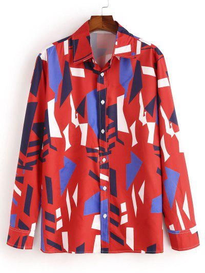 Geometric Pattern Collared Long Sleeve Shirt - Lava Red S