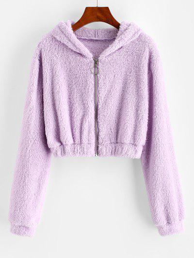 Hooded Full Zip Fluffy Coat - Light Purple Xl