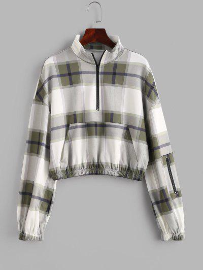 ZAFUL Plaid Drop Shoulder Half Zip Pocket Sweatshirt - Fern Green L