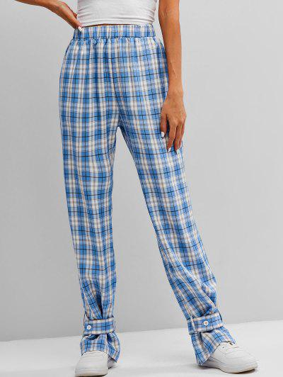 ZAFUL High Waist Plaid Belt Cuff Pants - Multi-a Xl