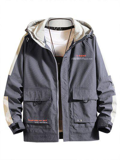 Letter Print Contrast Patch Raglan Sleeve Hooded Jacket - Dark Gray S