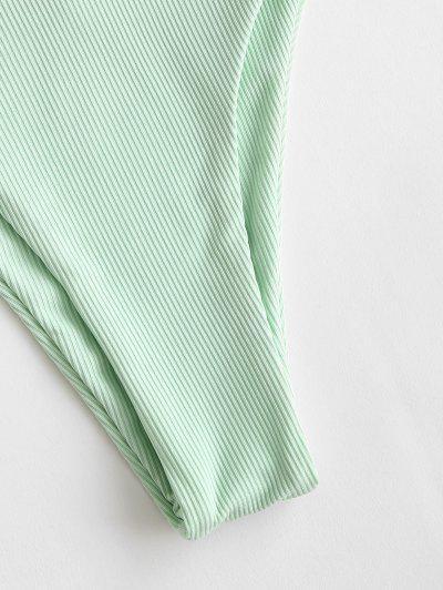 ZAFUL Ribbed Braided Ladder Cutout Tie Bikini Swimwear, Light green