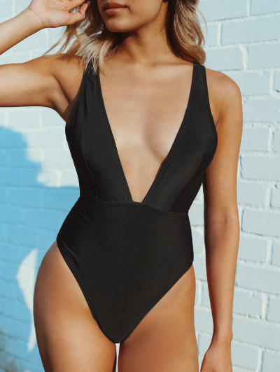 High Cut Plunge Neck Swimsuit - Black M