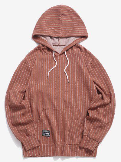 Stripes Kangaroo Pocket Casual Hoodie - Coffee 2xl