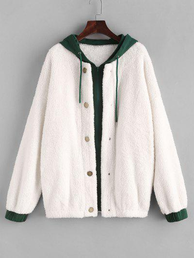 ZAFUL Hooded Bicolor Drop Shoulder Faux Fur Coat - White M