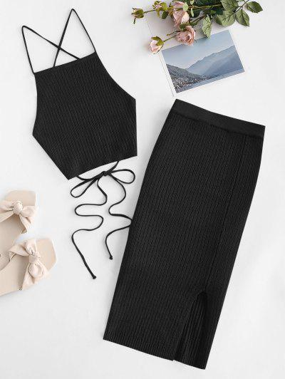 Open Back Crisscross Knitted Two Piece Dress - Black S