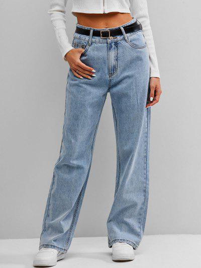 ZAFUL High Waist Wide Leg Jeans - Light Blue L