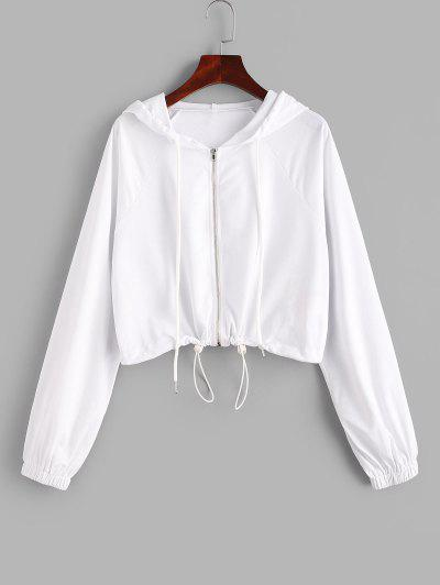 ZAFUL Raglan Sleeve Zip Up Crop Hoodie - White S