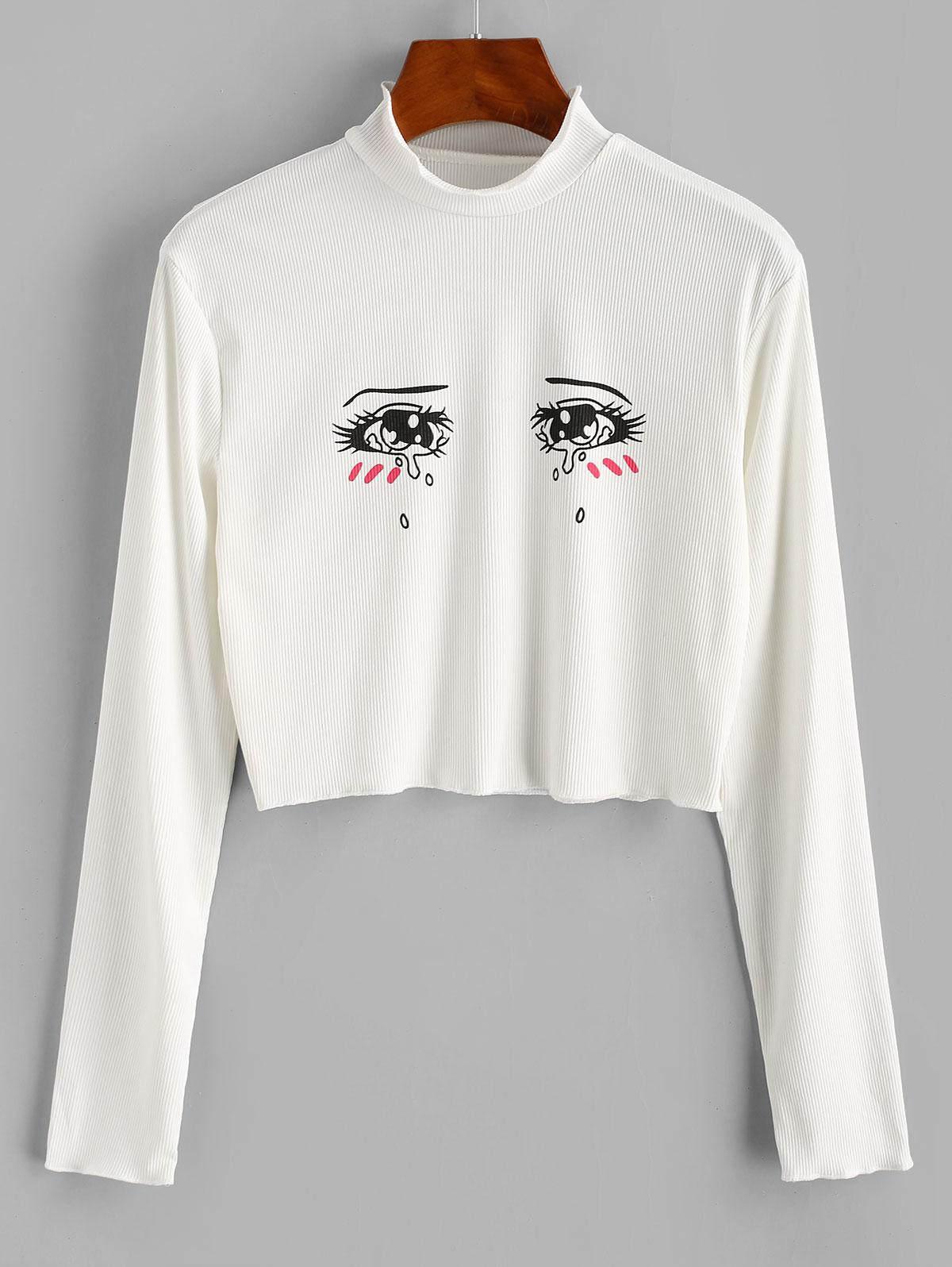 Ribbed Tears Eyes Graphic Cropped Tee