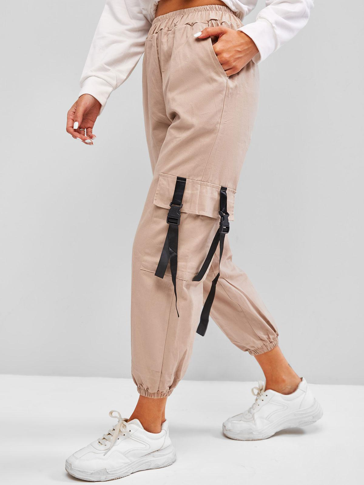 High Waisted Snap-buckled Straps Cargo Pants