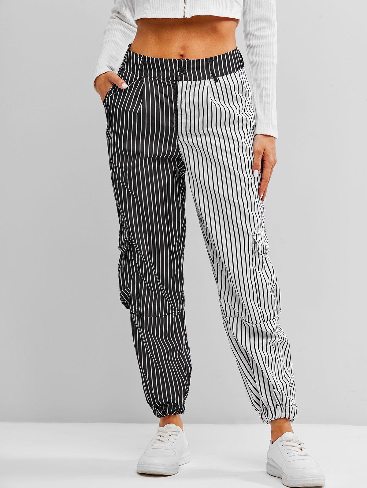 Flap Pockets Contrast Striped Cargo Pants