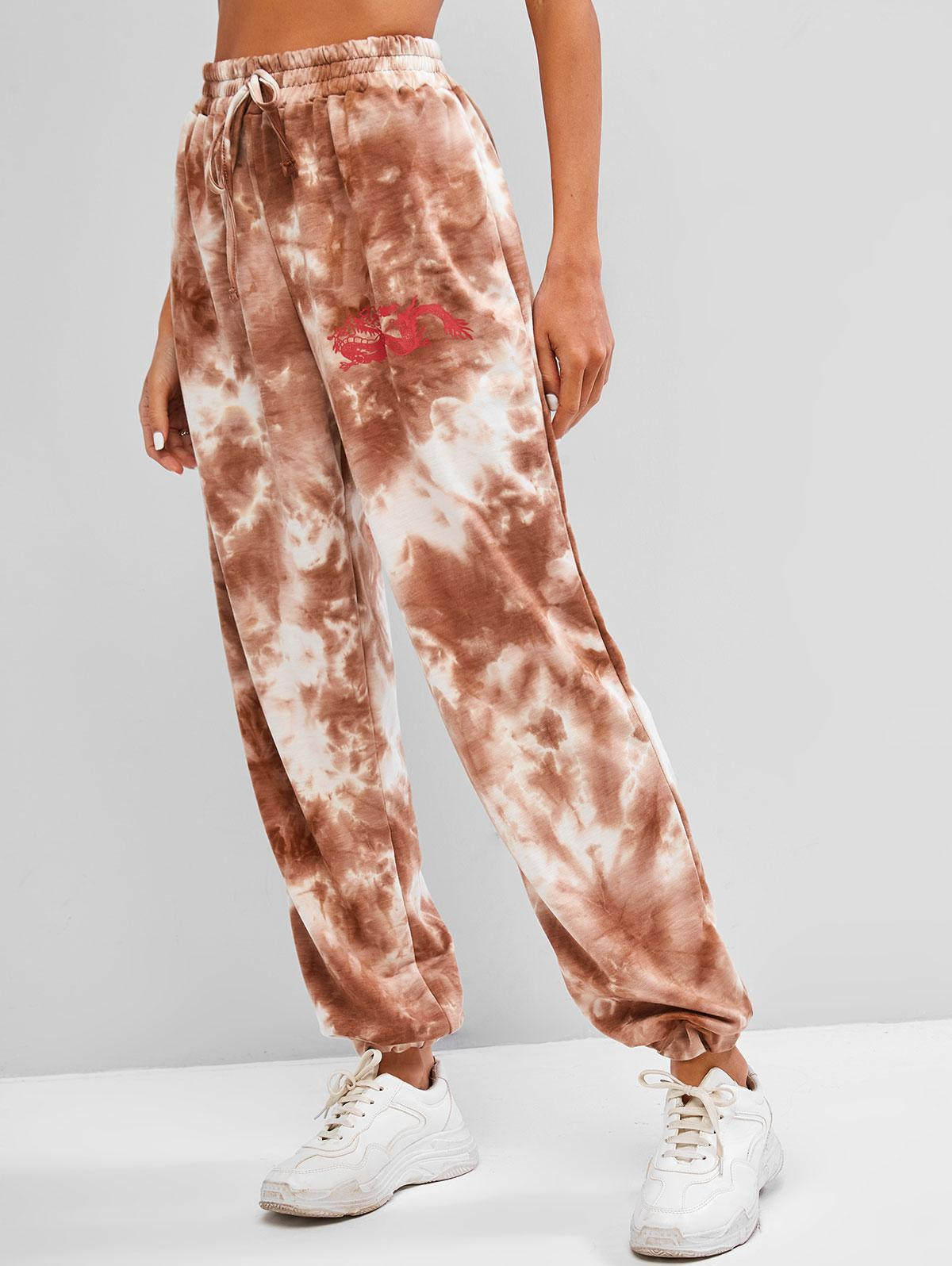 Dragon Print High Rise Oriental Tie Dye Jogger Pants