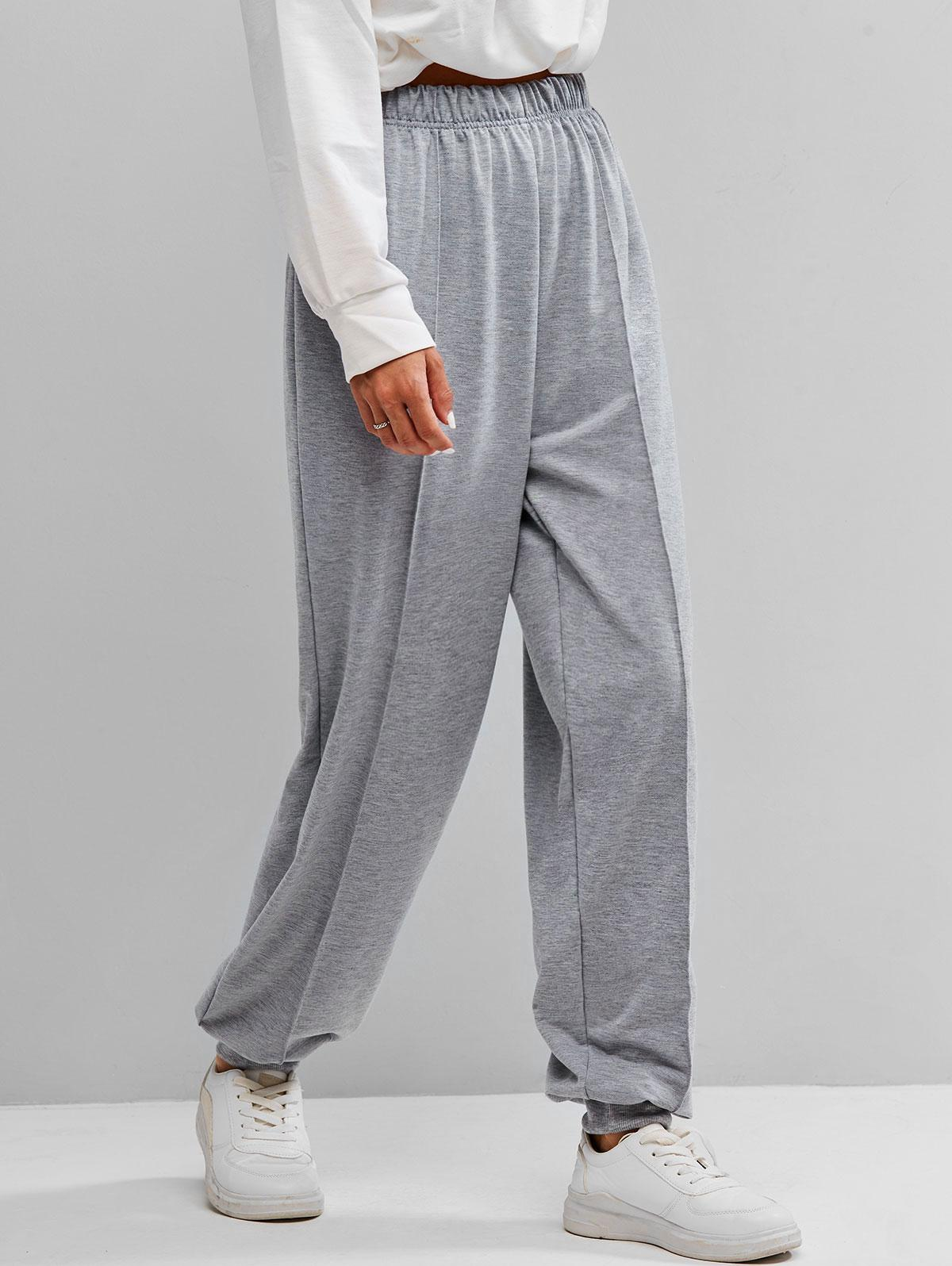 Seam Detail High Rise Pull On Jogger Pants