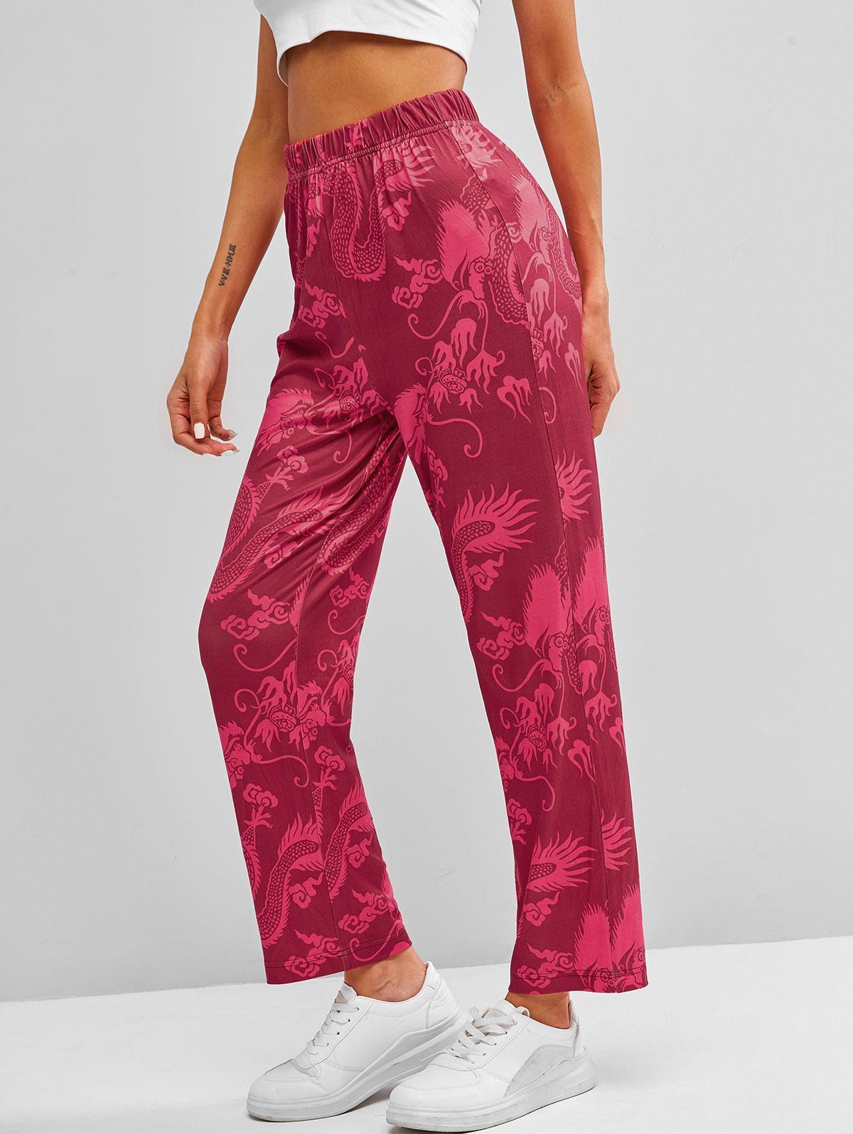 Chinoiserie Dragon Print Straight Pants