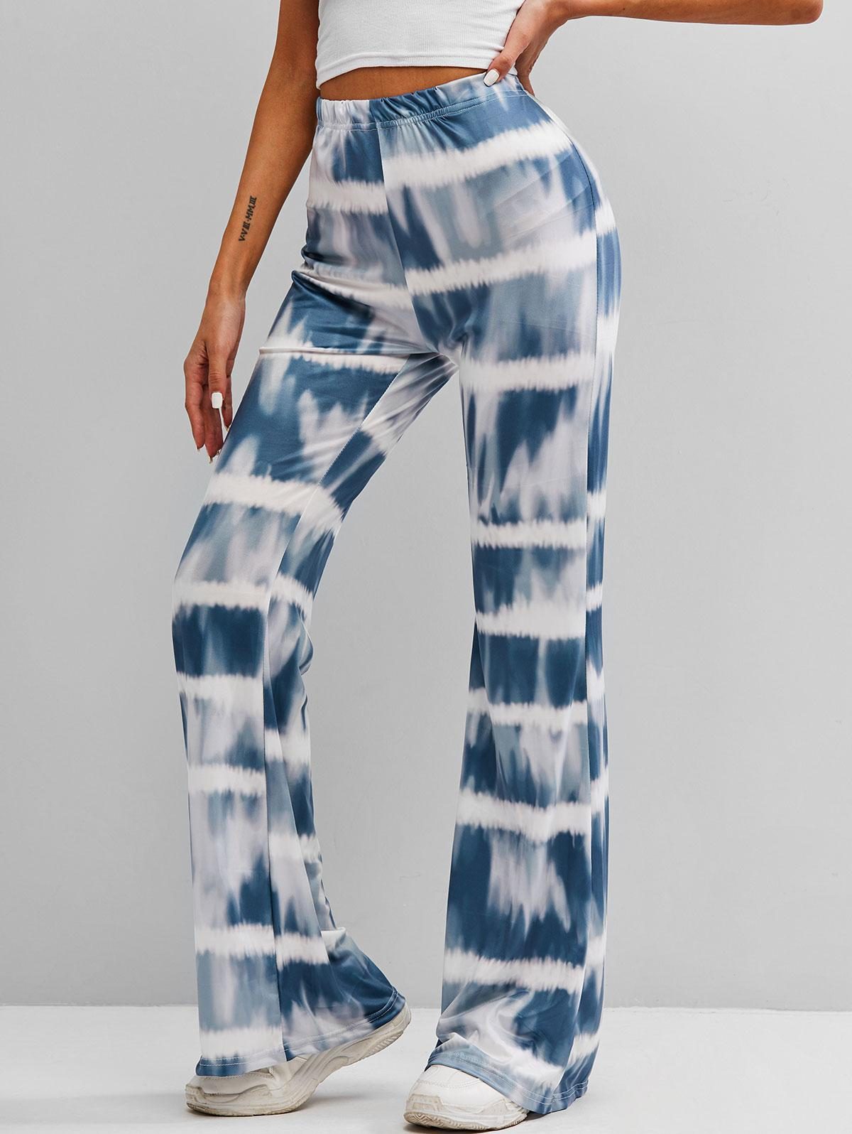 High Waisted Tie Dye Flare Pants