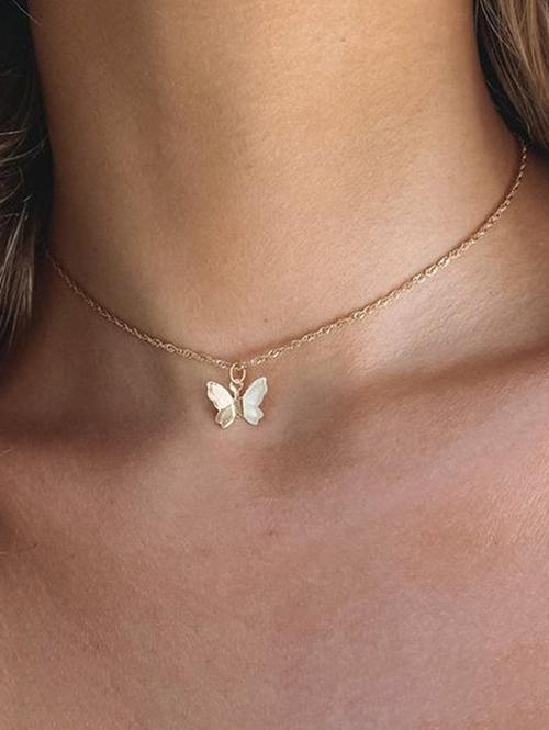 Chain Butterfly Pendant Choker Necklace