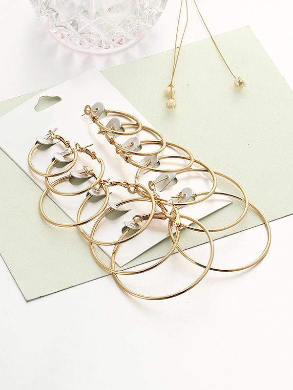 6 Pairs Exaggerated Hoop Earrings Set