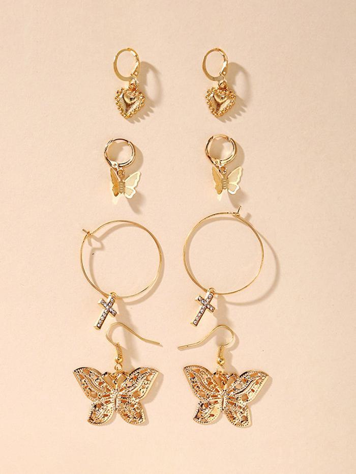 Rhinstone Corss Heart Butterfly Drop Earrings Set