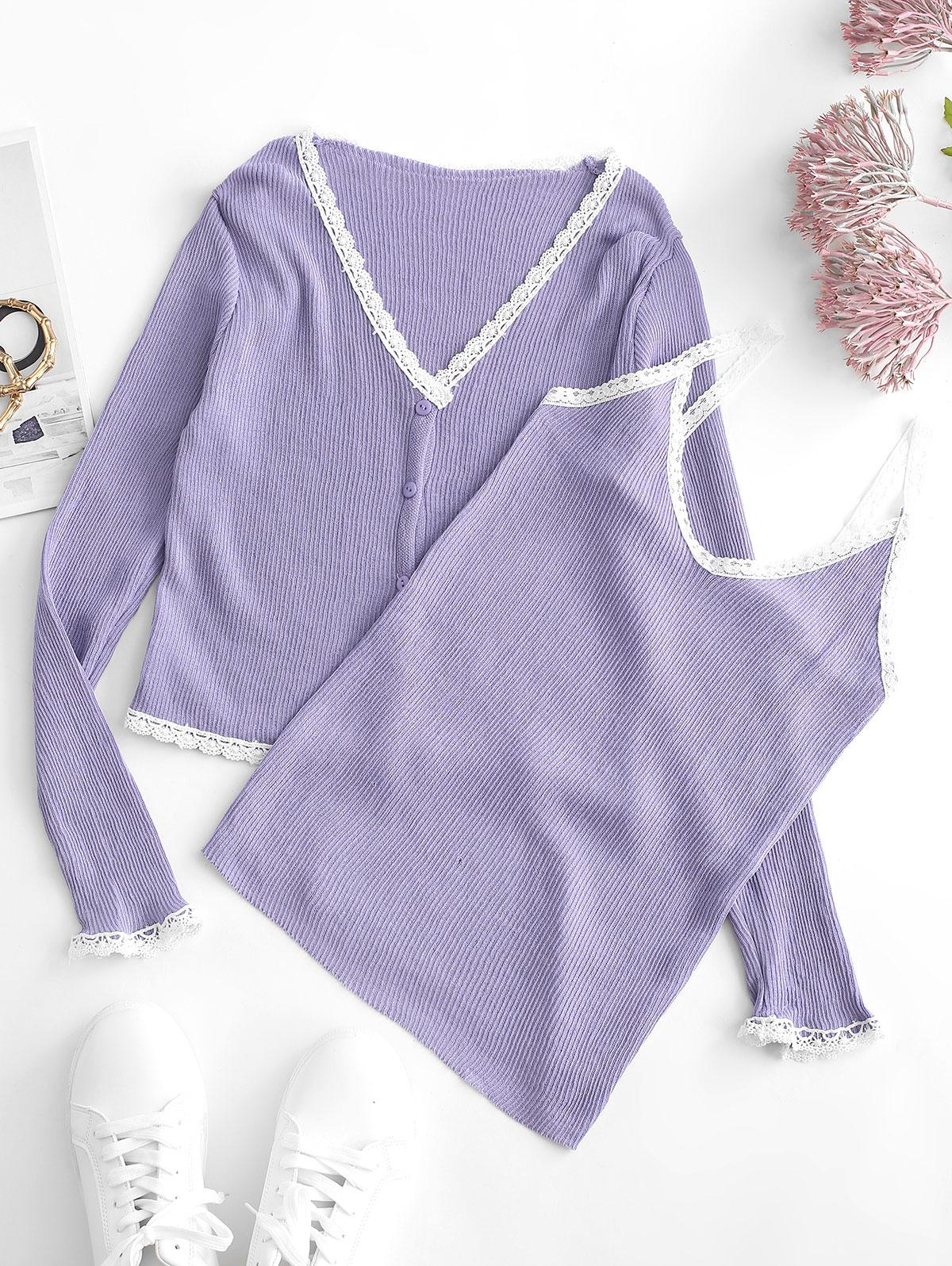 Lace Insert Button Up Ribbed Cardigan with Camisole
