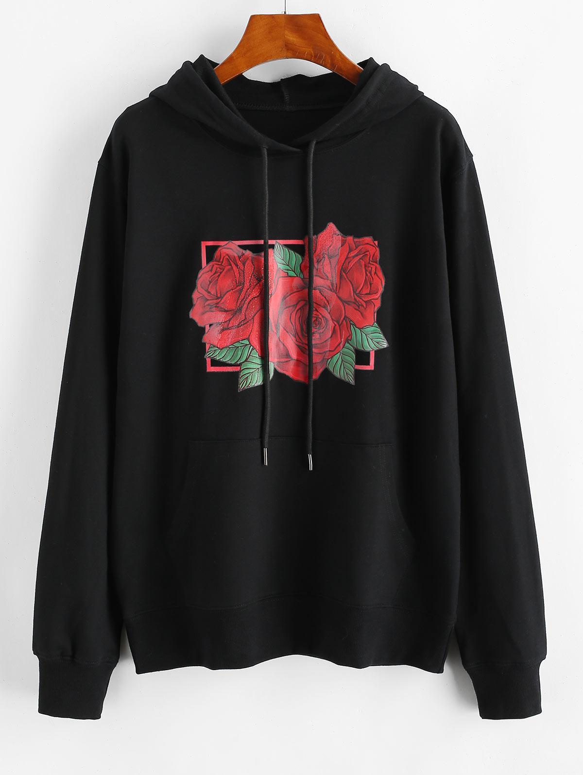 Drawstring Red Rose Kangaroo Pocket Hoodie