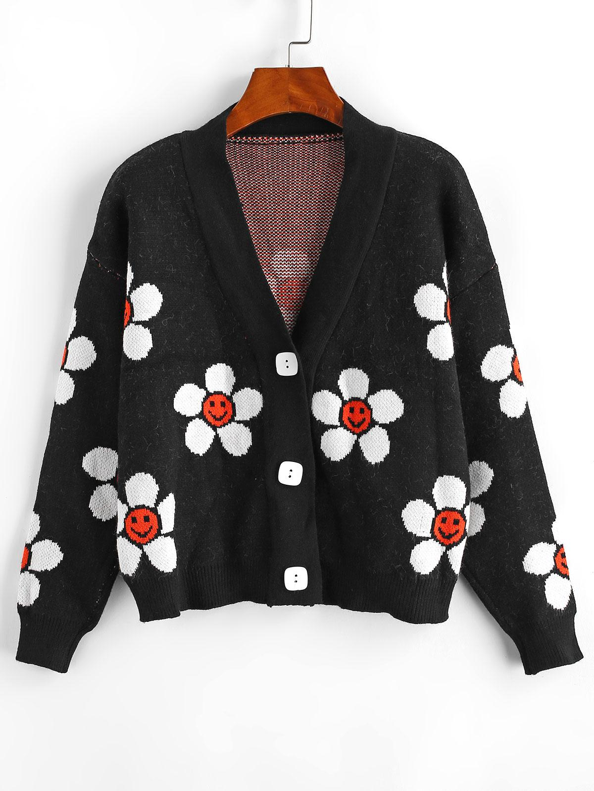Floral Graphic Button Up V Neck Cardigan