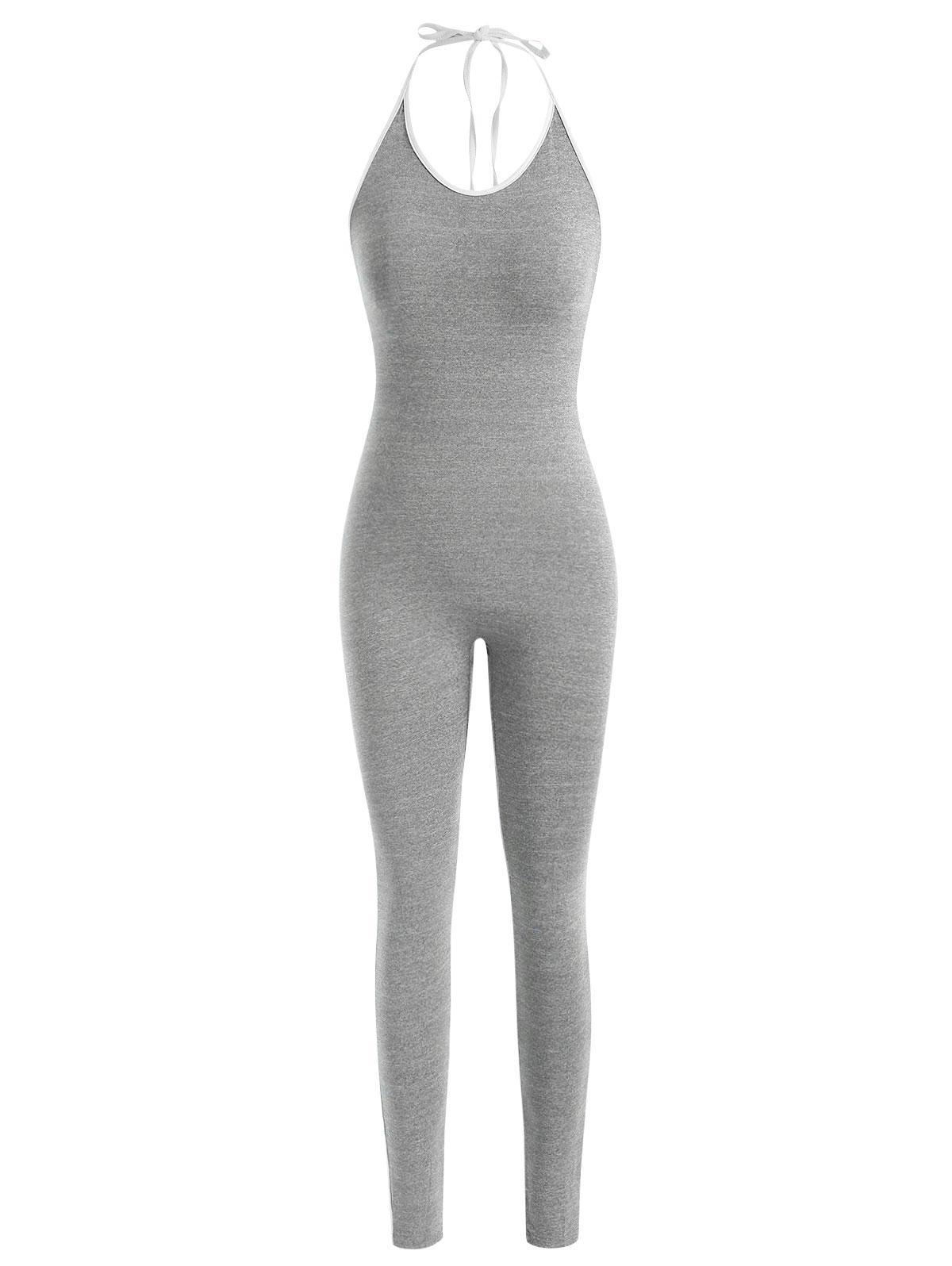 Contrast Binding Halter Backless Unitard Jumpsuit
