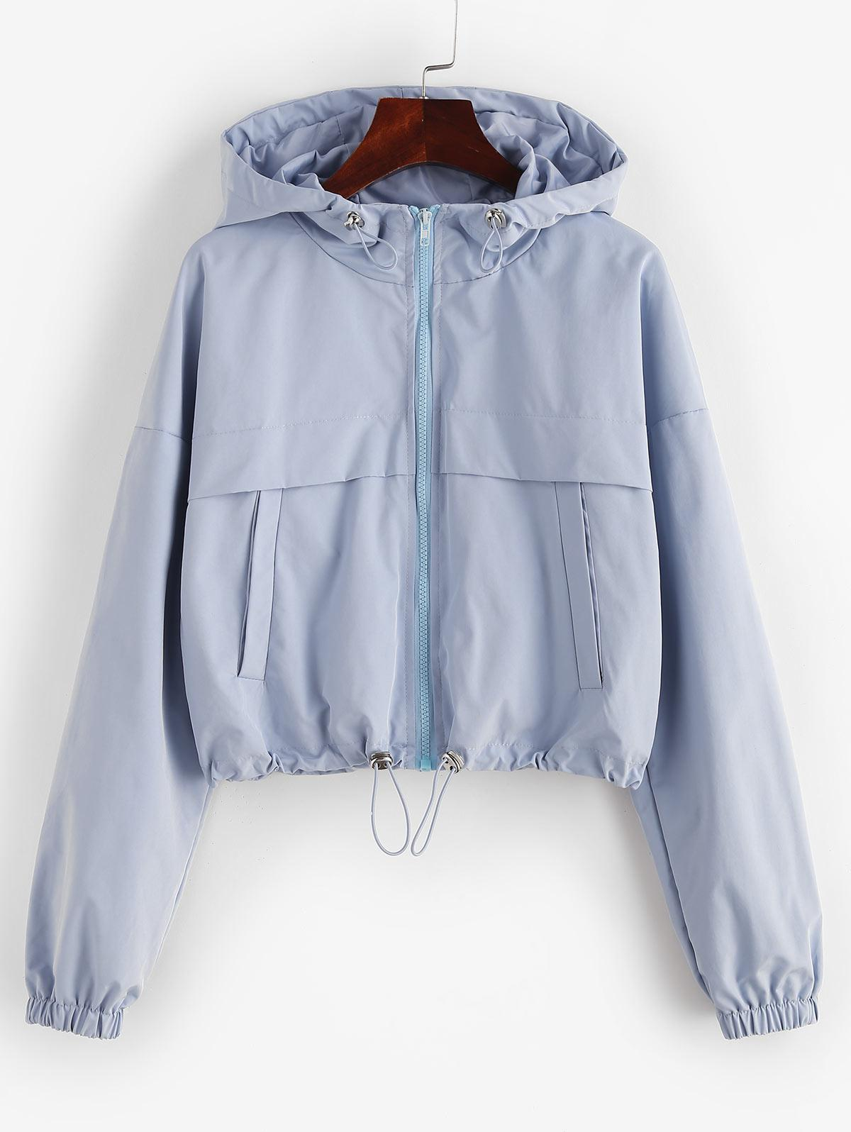 ZAFUL Full Zip Toggle Drawstring Windbreaker Jacket