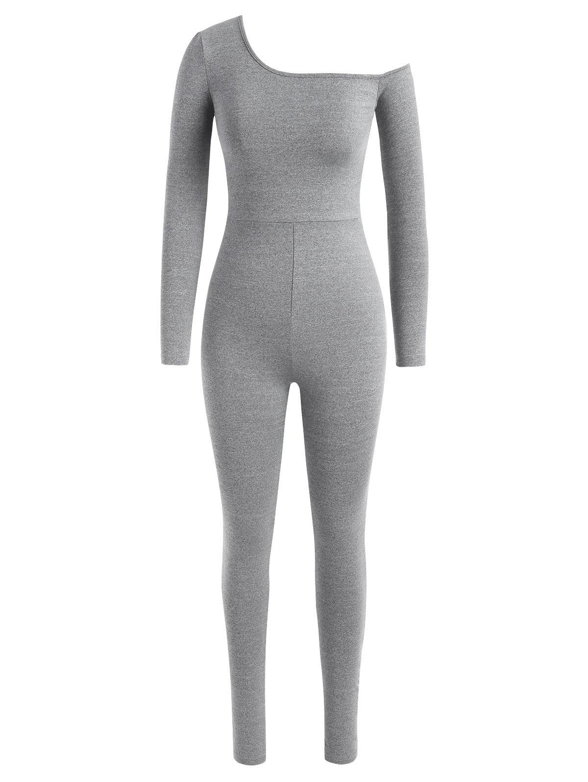 Marled Skew Neck Unitard Jumpsuit