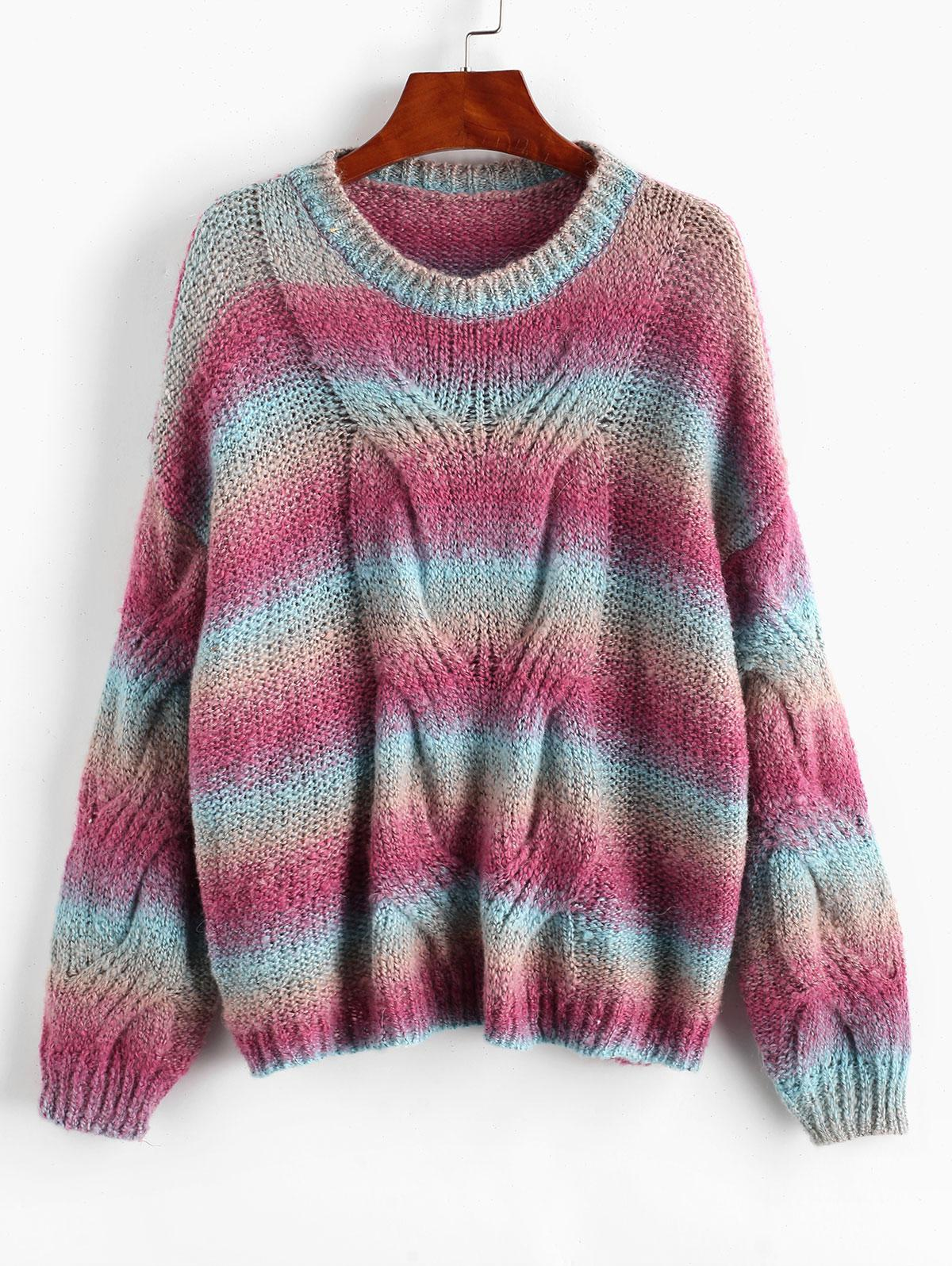 Loose Tie Dye Stripes Cable Knit Sweater
