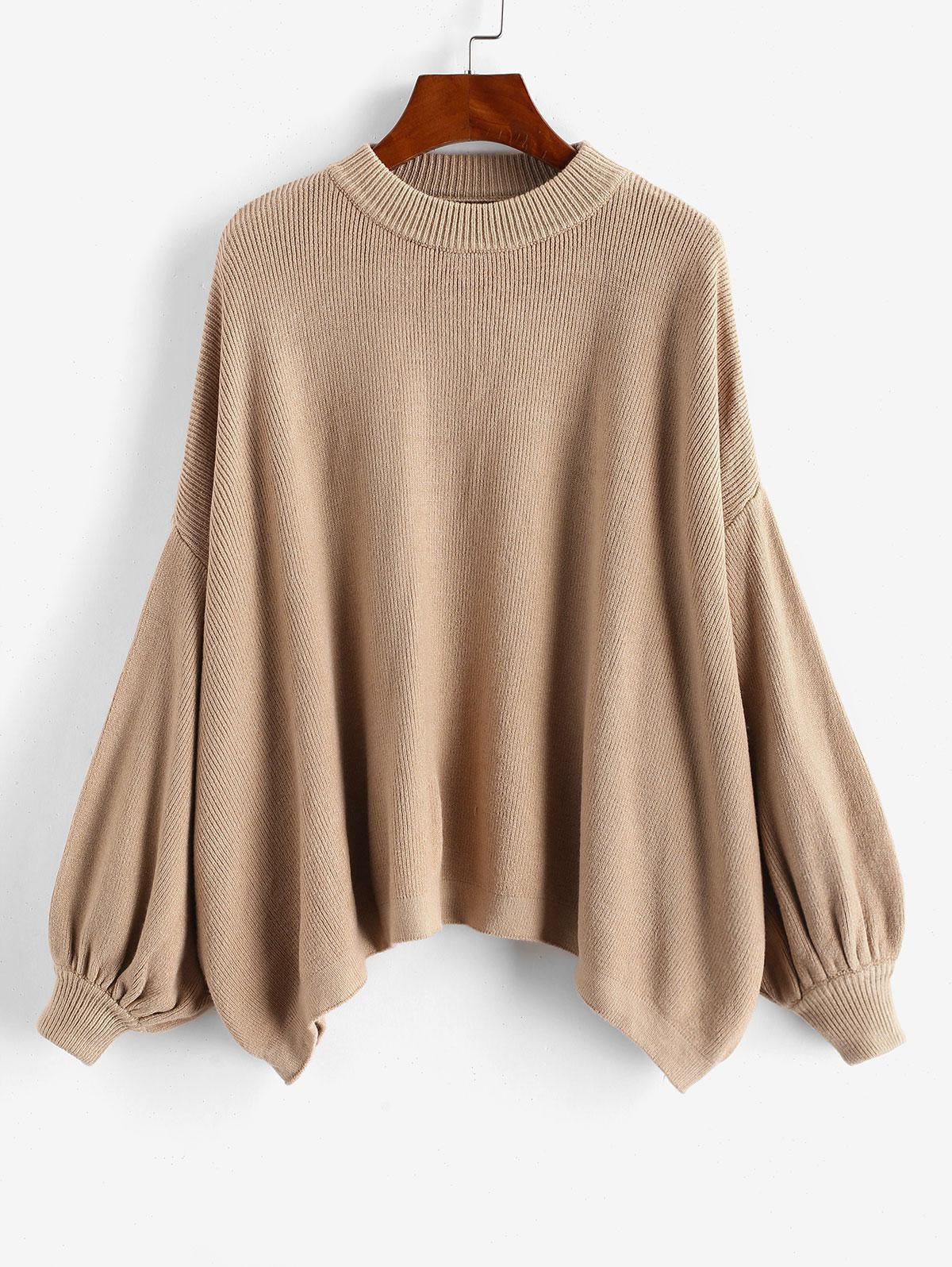 Crew Neck Oversized Lantern Sleeve Sweater