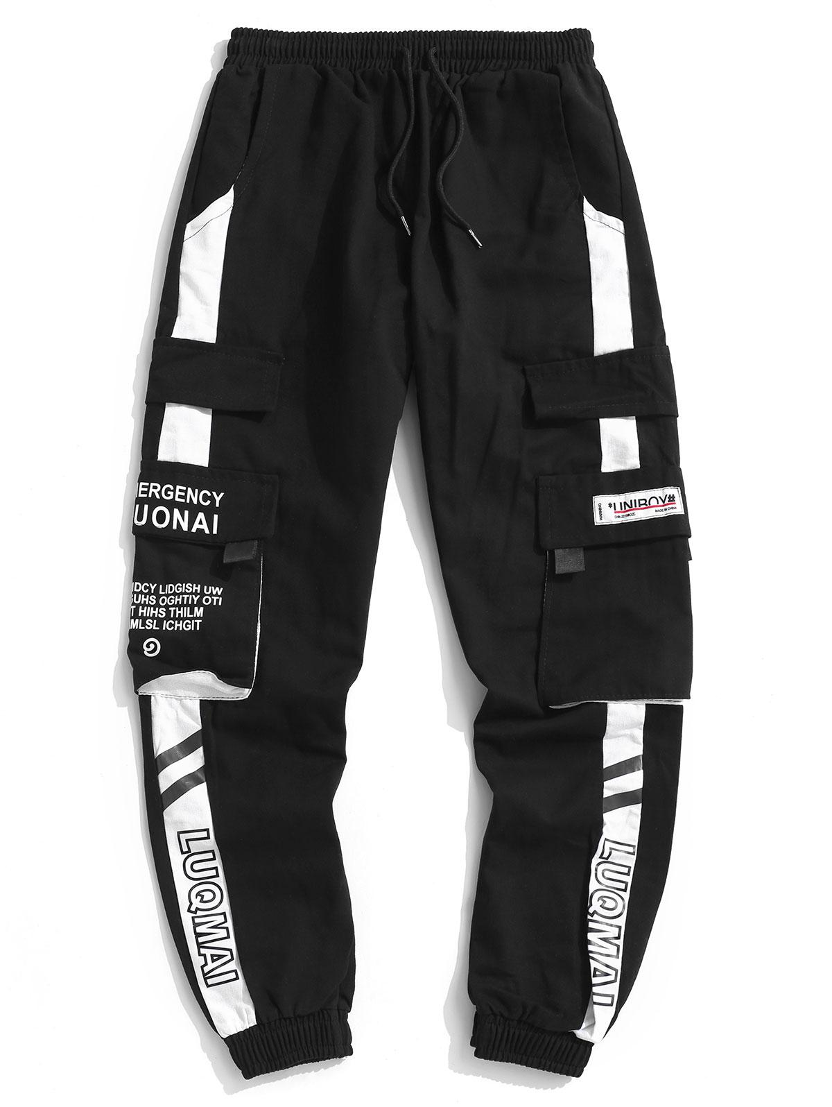 Letter Print Colorblock Panel Cargo Pants, ZAFUL  - buy with discount